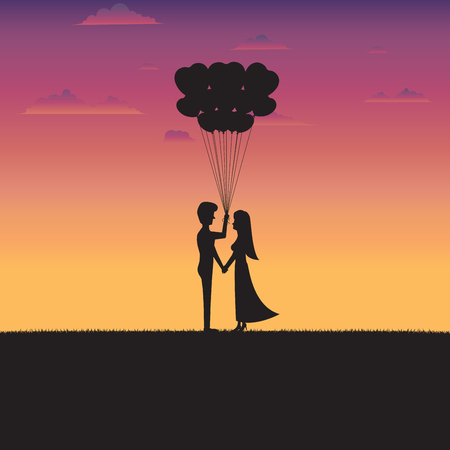 Valentines Day Concept. Silhouette of couple standing holding a heart shape balloon with sunset background. Illustration vector flat