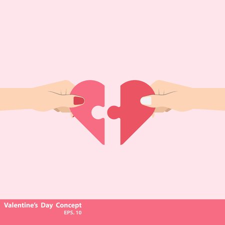 Valentines Day Concept. Two hand holding connecting two a piece jigsaw of love. Hand holding a heart shape jigsaw puzzle. Illustration vector flat
