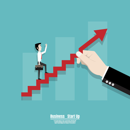 Start up business concept, Business Man walking on the red arrow stairs, People walk up on the success of the financial business. Vector flat design Ilustrace