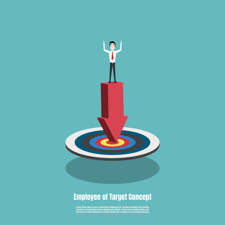 Business man stand on red arrow pointing to the target, Employee work to goal. Business success concept. Marketing success goals. Vector illustration flat Illustration