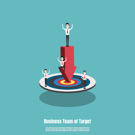 Business team with red arrow pointing to the target, Employee team work. Business success concept. Marketing success goals. Vector illustration flat Ilustrace