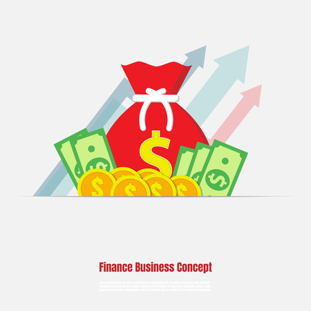 Red money bag, Dollar banknote and coin, Finance business concept, Market growth, Vector illustration flat