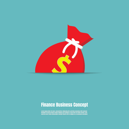 Red money bag, Money bag icon, Finance business concept, Vector illustration flat Ilustrace