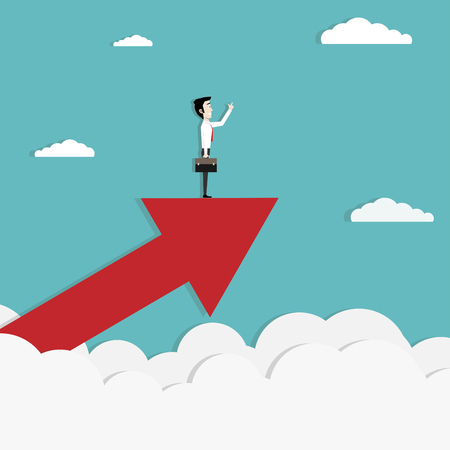 Businessman stand on growing a big arrow. Success investment business concept. Marketing. Business Start up. Vector illustration Flat