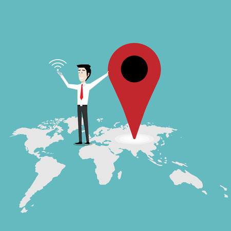 Businessman holding smartphone, Check in location on the map, Marketing business, Location concept, Vector illustration flat