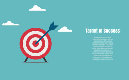 Arrow and target symbol to success. Business financial and Investment concept. Vector flat