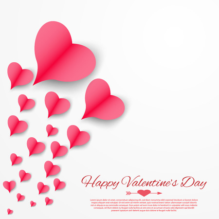 Paper hearts Valentines day card. Hearts paper flying on white background. Valentine day concept. Illustration vector