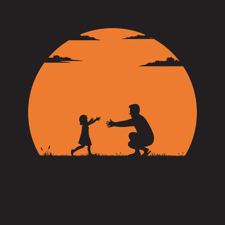 Silhouette of father and daughter playing on the grass with the sun as the background, Farther Day concept, Vector illustration flat
