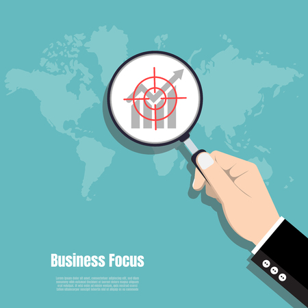 Business hand holding Magnifying glass, Business focus concept, World marketing vision, Vector illustration flat