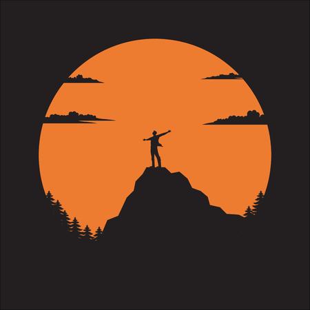 Silhouette the man of mountain on the sun, Man standing on mountain illustration vector flat