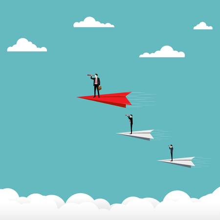 Concept Business Team Vision, Businessman holding a binocular stand on paper plane, Business team looking for success, Vector illustration flat