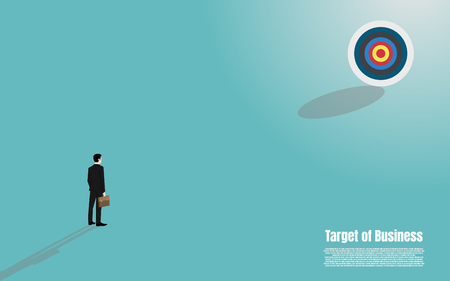 Concept Vision, Businessman stand look at go to the target, Vector illustration flat Ilustrace