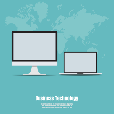 Business Technology, Device icons, Laptop and desktop computer, Vector Illustration flat of responsive web design