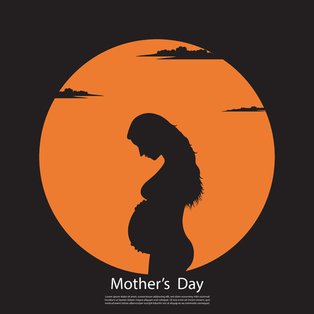 Happy Mathers Day, Silhouette maternity on sunset background, Mom concept, Vector illustration flat