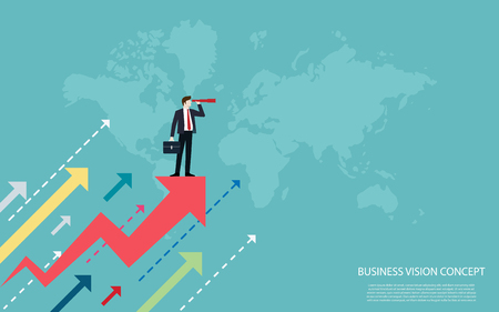 Business vision concepts, Businessmen standing on a red arrow use binocular look to the success, Vector illustration flat