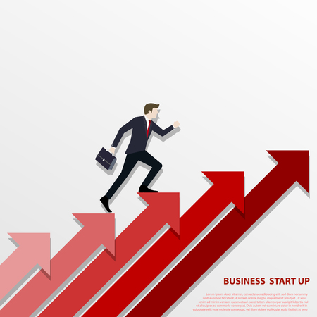 A Business man steps up stairs to successful point, Steps to starting a business success, Businessman walking up on red arrow, Arrow stairs, Concept start up business, Vector illustration flat Stock Illustratie