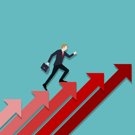 A Business man steps up stairs to successful point, Steps to starting a business success, Businessman walking up on red arrow, Arrow stairs, Concept start up business, Vector illustration flat Standard-Bild - 122558939