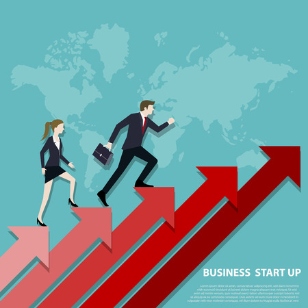 A Business team steps up stairs to successful point, Steps to starting a business success, Businessman and woman walking up on red arrow, Arrow stairs, Concept start up business, Vector illustration flat