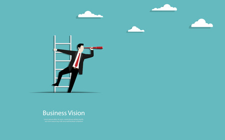 Business vision concept, Businessman climb up the stairs out of paper cutout, Symbol of business vision, Career, Success, Eps10 vector illustration Standard-Bild - 122625529