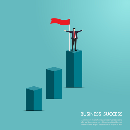 Businessman standing on top of the column graph, Happy  businessman, Business concept of goals, Success, Flag, Achievement and challenge, Vector illustration flat Ilustrace