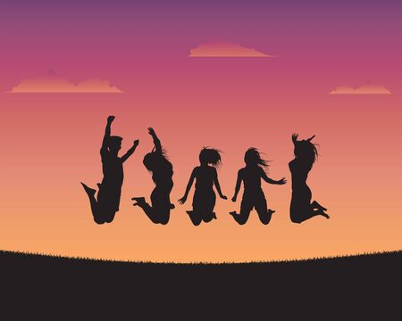 Silhouette happy young people of sunset background,Youth day background, Happy youth day, International Youth day poster campaign, Vector illustration flat