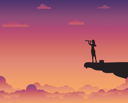 Business concept target, Businesswoman holding binocular standing on cliff, Leader, Goal, Startup, Success, Silhouette, Vector illustration flat