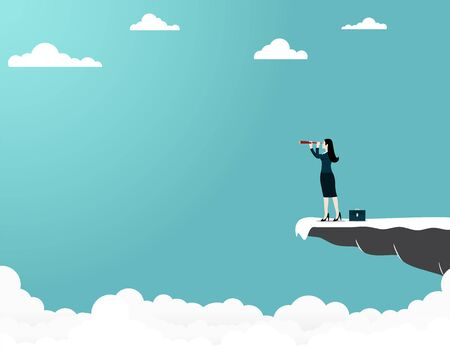 Business concept target, Businesswoman holding binocular standing on cliff, Leader, Goal, Startup, Success, Vector illustration flat