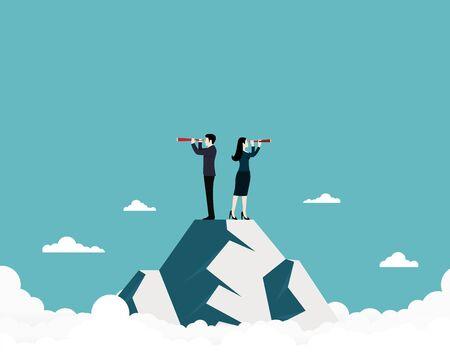 Visione aziendale, team aziendale alla ricerca di successo, uomo e donna d'affari in piedi in cima alla montagna utilizzando il telescopio in cerca di successo, concetto di business, illustrazione vettoriale piatta