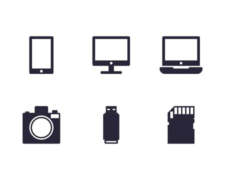 Electronic devices thin flat icons on white background. Visualization equipment icon Ilustrace