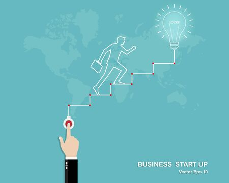 Vector illustration of creative idea, Business startup, Light bulb, Businessman hand touches open the switch, Businessman walk on stair up to startup point and successful, Vision, Career, Flat style Ilustrace