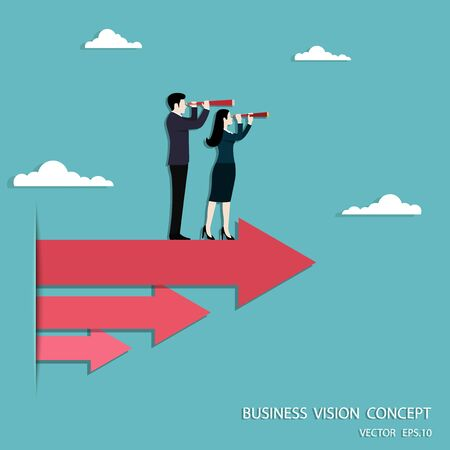 Business vision, Businessman and Business woman holding telescope standing on red arrow up go to success in career, Concept business, Achievement, Character, Leader, Vector illustration flat Ilustrace