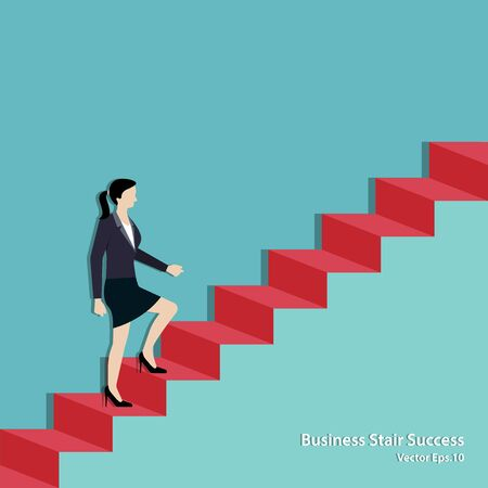 Businesswoman walking on staircase up to the goal. Business Achievement concept, Success, Leadership, Vector illustration flat