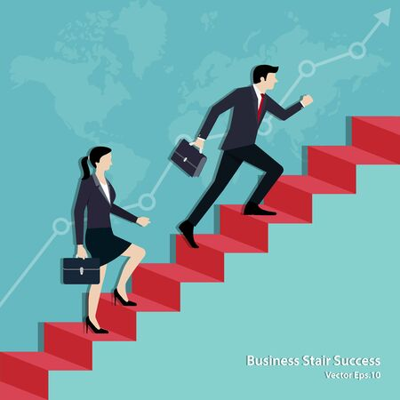 Businessman and businesswoman walking on staircase up to the goal. Business Achievement concept, Success, Leadership, Teamwork, Vector illustration flat