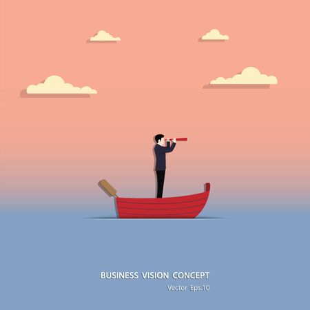 Business vision concept, Businessman holding telescope standing in red boat look at to goal success, Sunset background, Leadership, Career, Vector illustration flat design