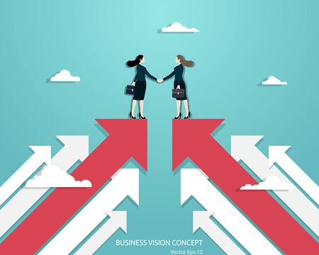 Business vision, Business women partners handshaking over business. Woman standing on red arrow up go to success in career. Concept business, Achievement, Character, Leader, Vector illustration flat