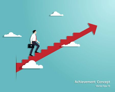 Business startup concept. Businessman walking the stairs up to successful, Achievement, Arrow, Leadership, Vector illustration flat