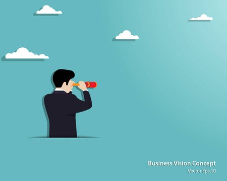 Business vision concept. Businessman looking through telescope on empty background. Achievement, Success, Leadership, Growth, Opportunity. Vector illustration flat Ilustrace