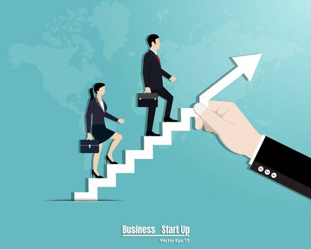 Businessman and woman walking up the stairs. Teamwork, Leadership, Startup concept, Career growth, Vector illustration flat