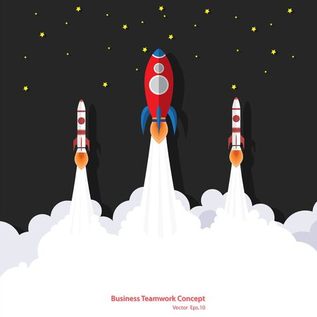 Rocket team ship in a flat style.Vector illustration flying rocket. Space rocket launch. Business start up, Creative idea, Achievement