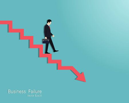 Business failure and bakruptcy concept. Businessman on steps leading to stock market crash. Crisis, Recession, Decline. Vector illustration flat
