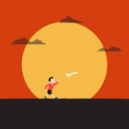 Little boy playing the plane running with paper airplane on sunset background. Inspiration, Dream, Summer, Holiday, Vector illustration flat
