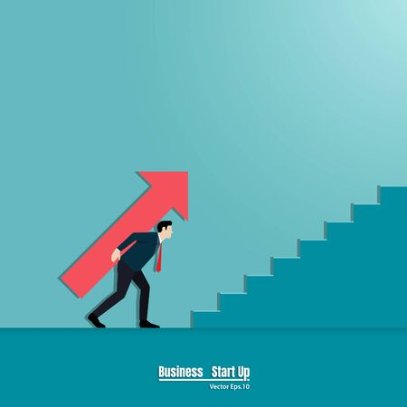Businessman holding arrow up the stairs. Business concept growth and the path to success. Achievement, Startup, Vector illustration flat