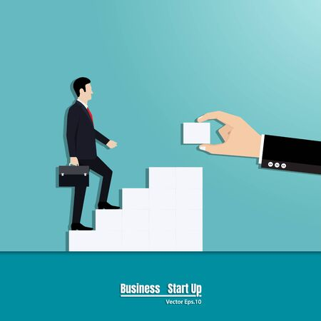Businessman walking up the career stairs. Concept of business with person walking to the success, Vector illustration flat