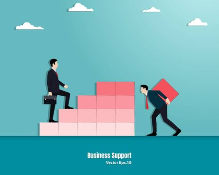 Businessman helping the manager by adding the last step. Employee support, Growth concept, Achievement, Team, Vector illustration flat Illustration