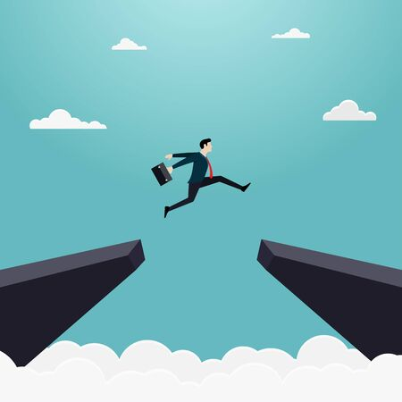 Businessman jump through the gap of the cliff. Employee with a running jump from one cliff to another. Achievement, Career, Leadership, Concept of business risk and success, Illustration vector flat
