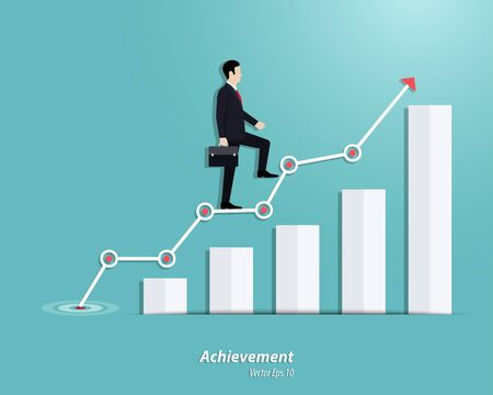 Business growth step. Businessman walking up to the steps or success chart. Achievement, Career, Vector illustration flat Illustration