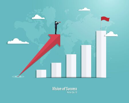 Businessman with telescope stand on arrow growth. Business graph success. Achievement concept. Arrow, Vector illustration flat