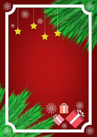 Merry christmas happy new year. Greeting card banner elements frame with pine leaf. Stars and gift box, Illustration flat vector 向量圖像