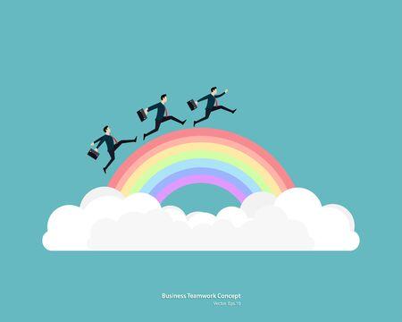 Businessman run on rainbow go to the success. Teamwork startup concept. Achievement, Career, Leadership, Vector illustration flat