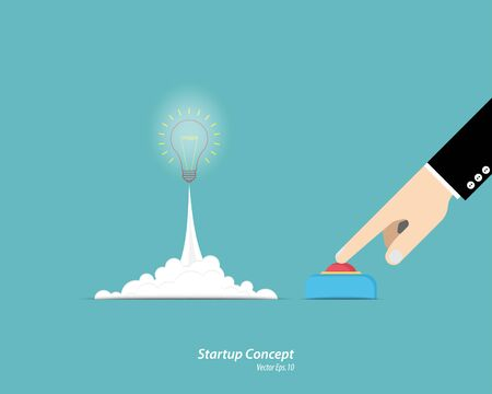 Hand press button startup light bulb. Startup Business, Business idea concept. Manager hand support. Illustration vector flat